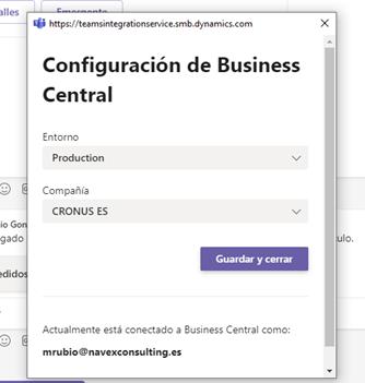 Configuración de Business Central en Microsoft Teams